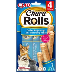 Inaba Churu Rolls Chicken-Tuna-Scallop Recipe 10 sticks